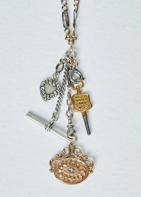 Jewels by Piper Watch Chain Charm Necklace - Silver/Gold