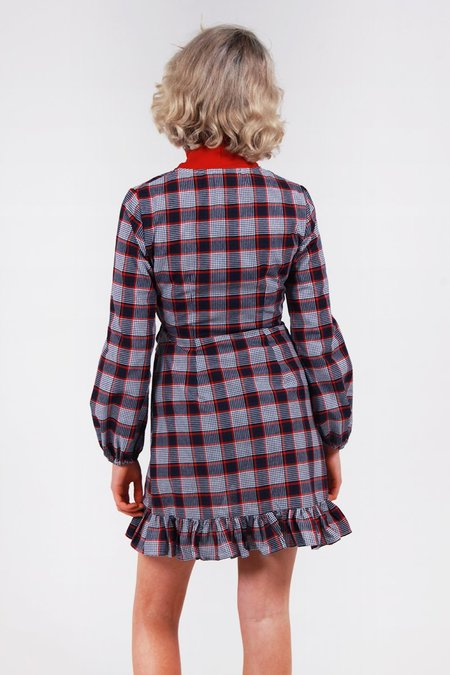 The Fifth Phonic Tartan Wrap Dress - raspberry
