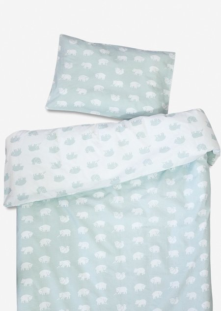 Kids Fine Little Day Bjorn Mint Baby Crib Sheet Set - Sage green/white