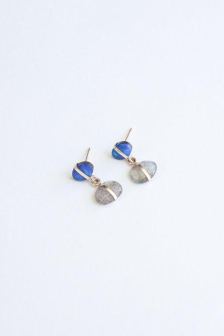 Melissa Joy Manning Drop Earring - 14K Gold Bezel Labradorite/Australian Black Opal