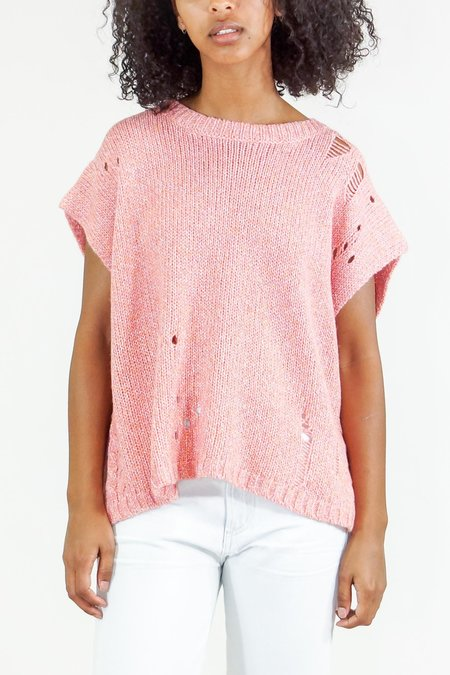 Raquel Allegra Square Vest Cable Knit Sweater - Pink Fleck