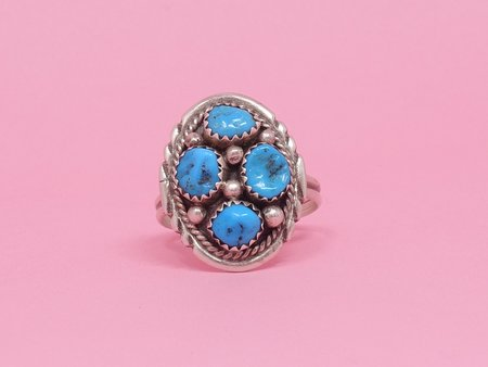 Queen City General Store Vintage Four Stone Turquoise Ring