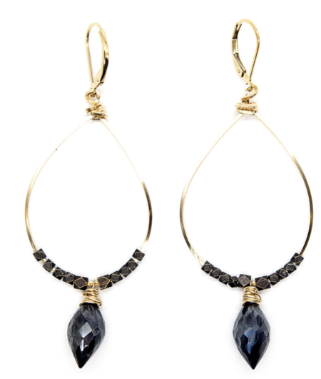 BLOOM Jewelry Gemstone Shield Large Hoops - Mixed Metal