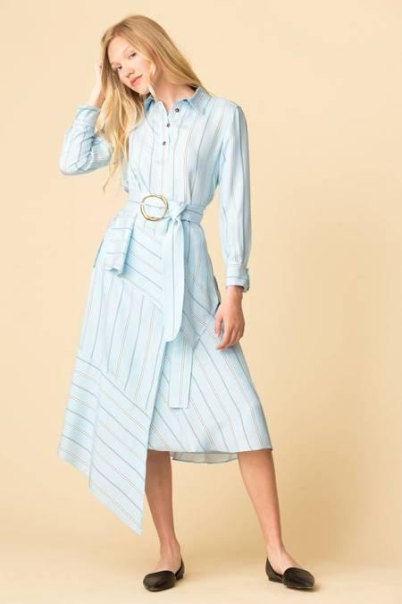 Derek Lam Asymmetrical Wrap Skirt - AQUA