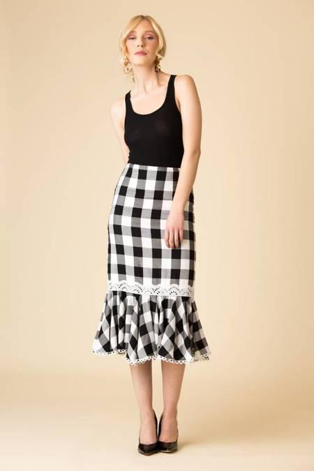 Marissa Webb Lou Buffalo Plaid Skirt - BLACK CHECKER
