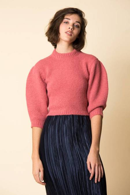Tibi Cozette Cropped Pullover - WARM PINK