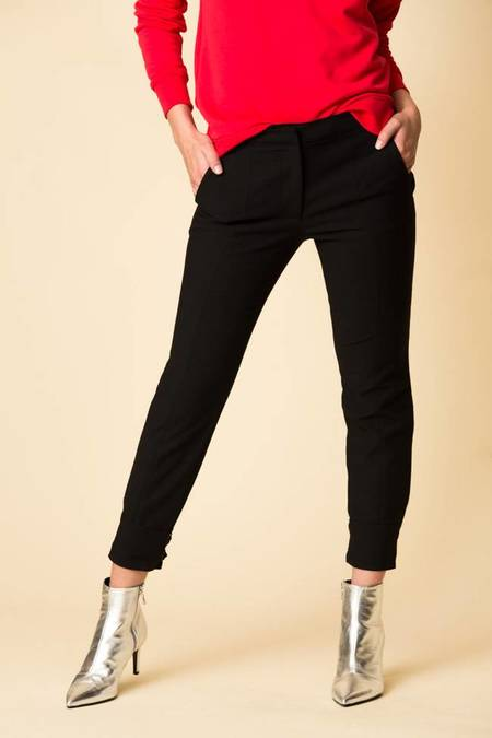 Tibi Anson Stretch Skinny Pant with Buckles - BLACK