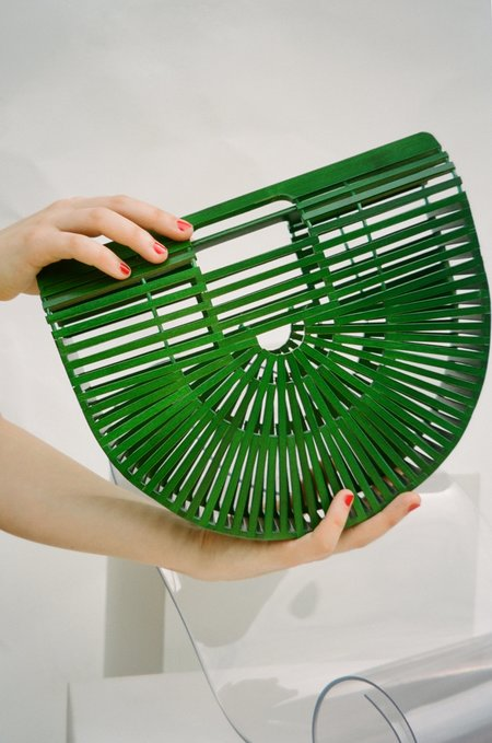 Sincerely, Tommy Wooden Clutch - Green