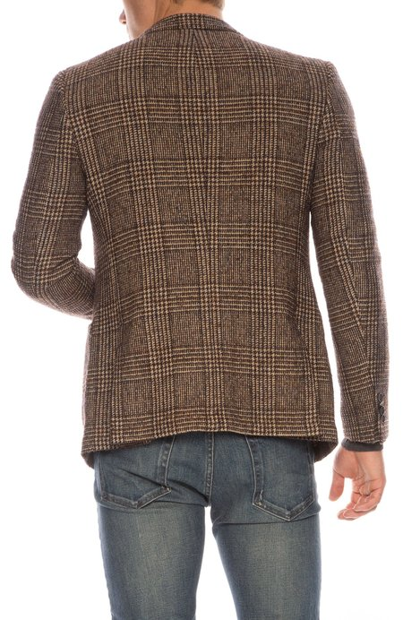 Officine Generale Plaid Wool Blazer - CAMEL BLACK