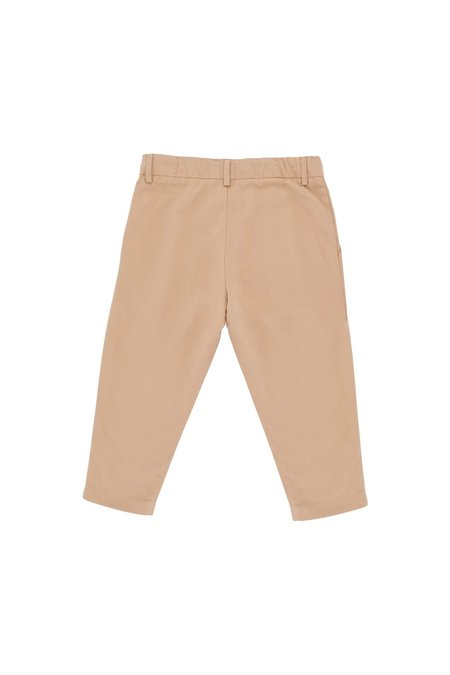 Kids Tinycottons Solid Pleated Pant - Dark Nude