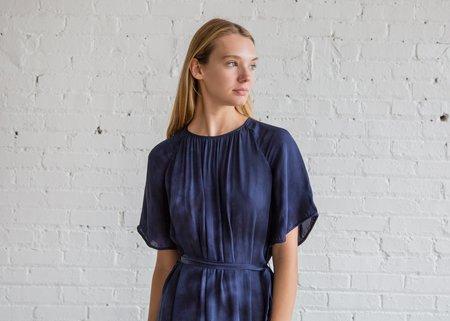 Raquel Allegra Silk Tie Dye Reversible Flutter Sleeve Dress -  Night Sky