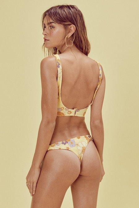 FOR LOVE AND LEMONS Lilian Knot Thong Bikini - Citrus