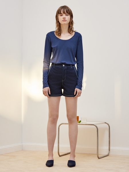 Kowtow Building Block Long Sleeve Top in Navy Blue