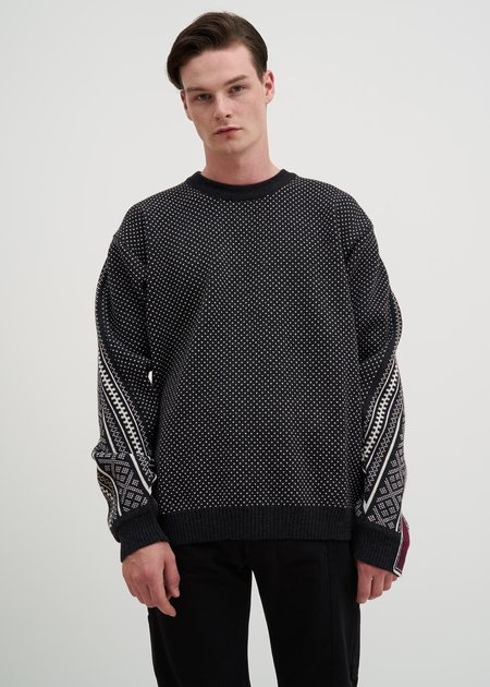 Y/project Norwegian Paneled Knit Sweater - Black
