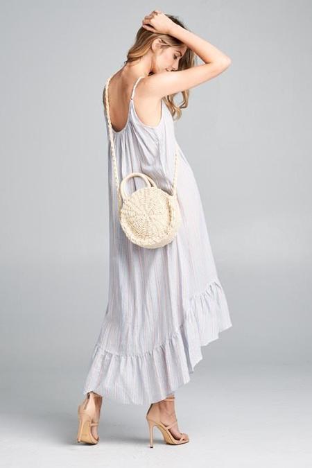 Ellison Round Straw Shoulder Bag