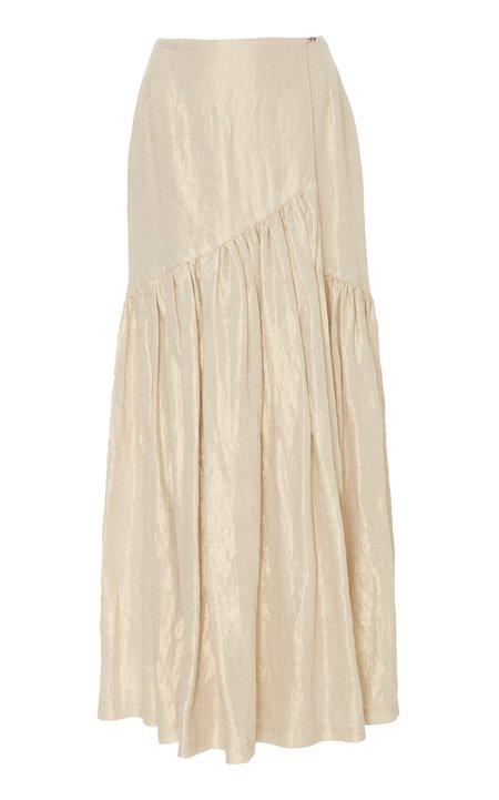 Christine Alcalay Drop Waist Gathered Maxi Wrap Skirt