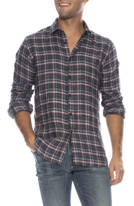 TODAY IS BEAUTIFUL x RON HERMAN Exclusive Linen Plaid Shirt - PINK/BLUE