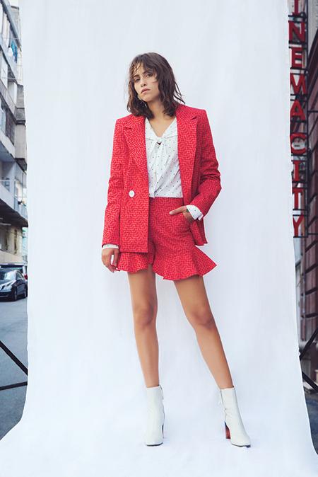 N-DUO ruffled shorts - Red