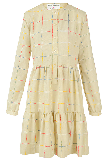 N-DUO Pastel olive checkered dress