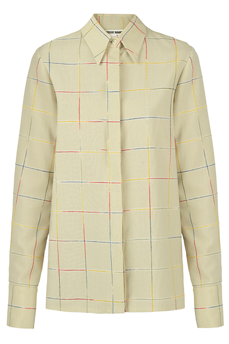 N-DUO shirt - Pastel olive checkered
