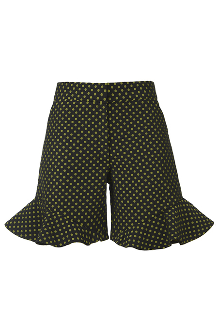 N-DUO shorts - Black with khaki dots