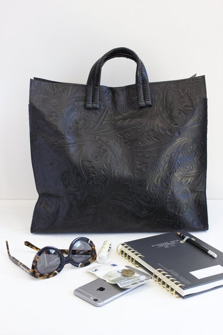 Clare V. Leather Tooled Floral Tote