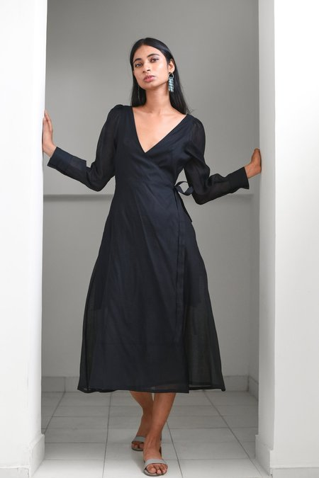 Maggie Jayne Wrap Dress - Black