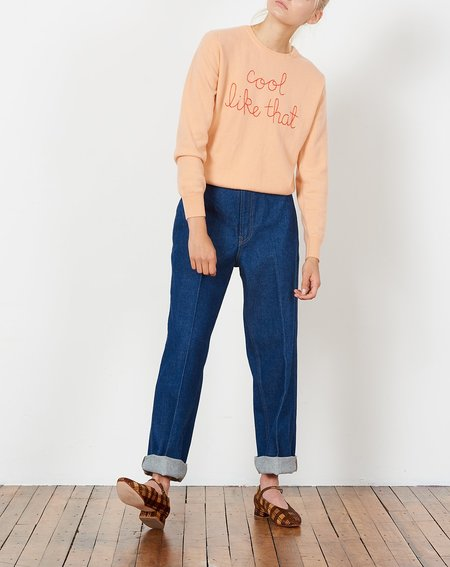 Lingua Franca Cool Like That Embroidered Cashmere Sweater - Peach