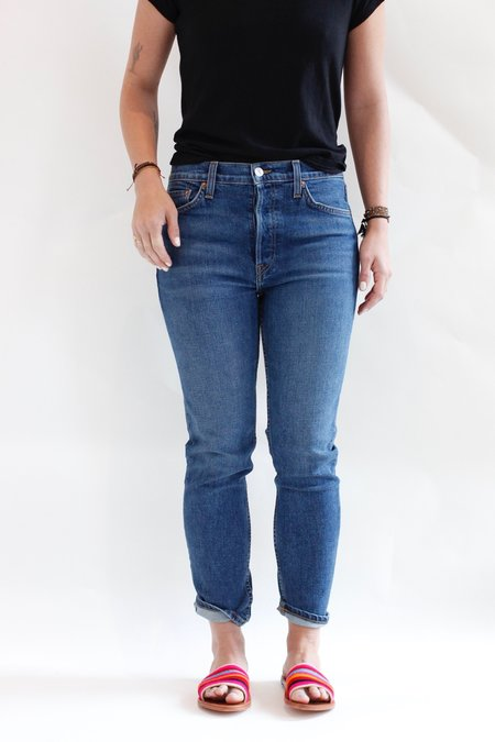 RE/DONE High Rise Ankle Crop Stretch - MID 70's BLUE