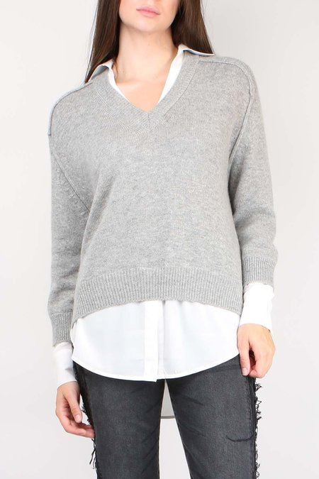 Brochu Walker V-Neck Layered Pullover - Sterling Melange
