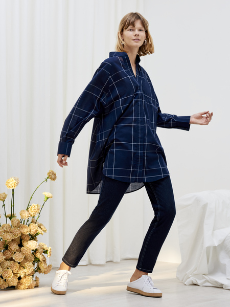 Kowtow Just Love Shirt in Navy Check