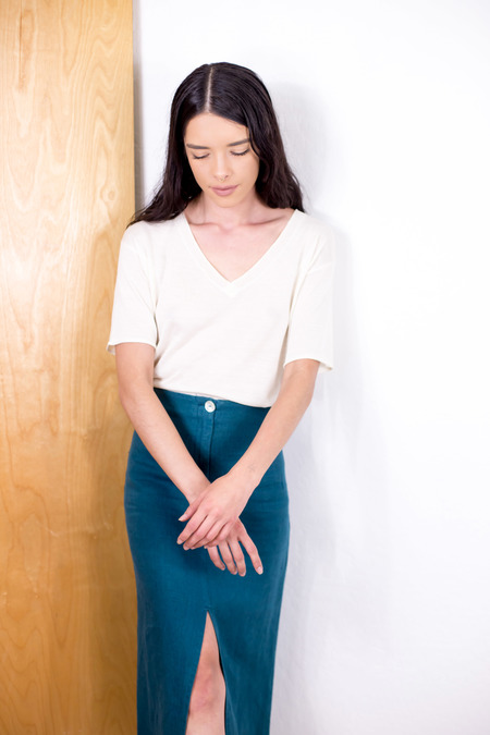 SITA MURT silky top - CREAM/BLUE