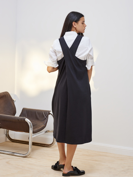 Kowtow Building Block Twist Back Dress in Black
