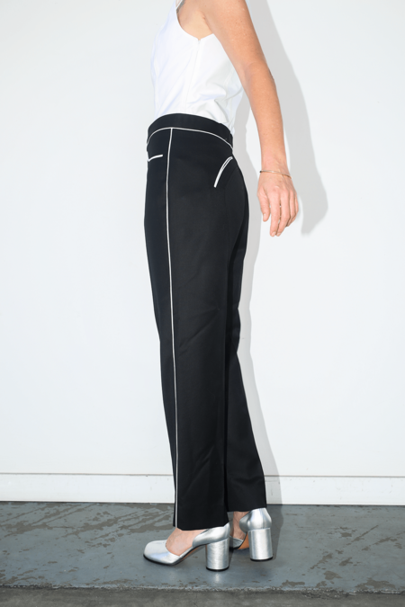 Lorod Wool Twill Suiting Slim Riding Trouser - Black/White