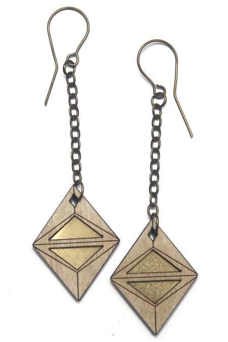 Diamonds Are Evil ba diamond earrings - BRASS/WOOD