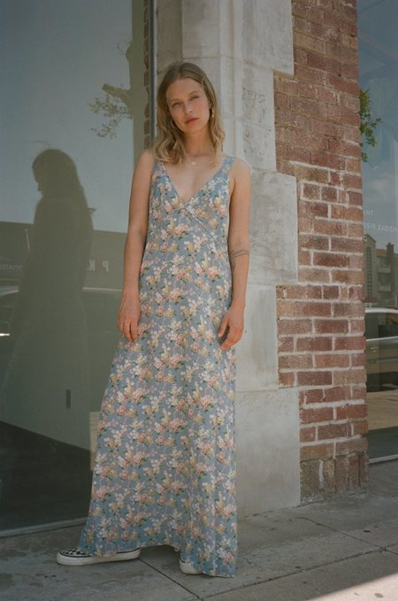 R13 Long Slip Dress - Blue Floral