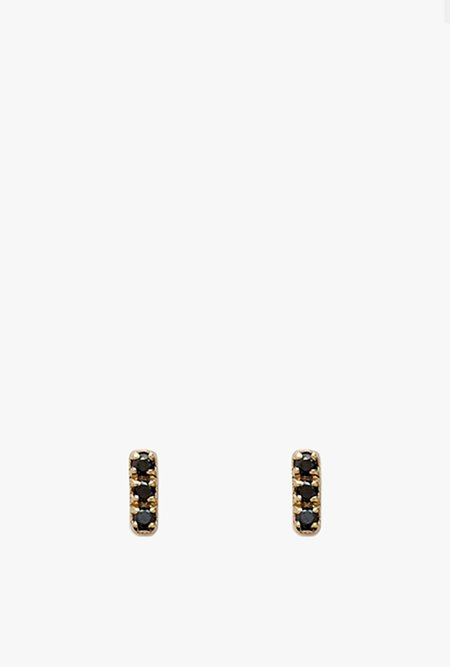 Stella and Bow Bella Tiny Earrings - Yellow Gold/Black Diamond