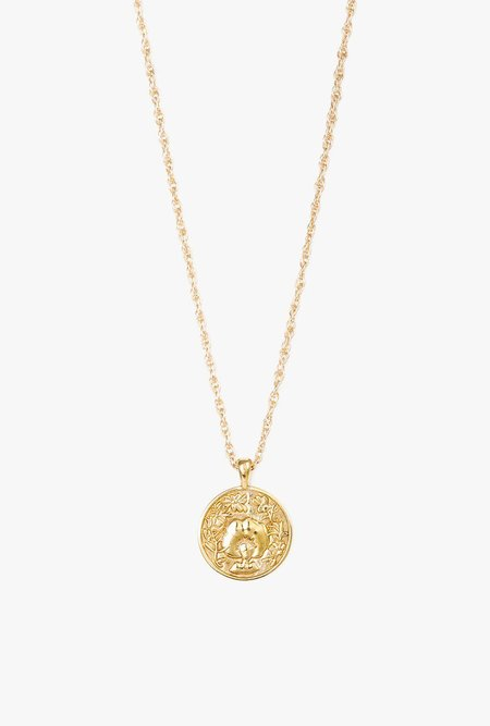 I Like It Here Club Anywhere Medallion Necklace - Brass