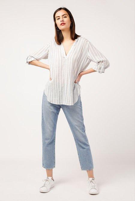 Azalea Striped Linen Henley Top