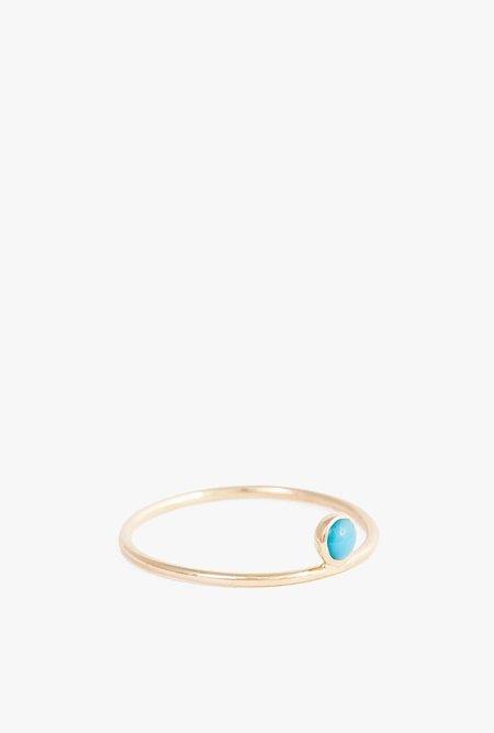 Minoux Turquoise Dot Ring - 14k Yellow Gold