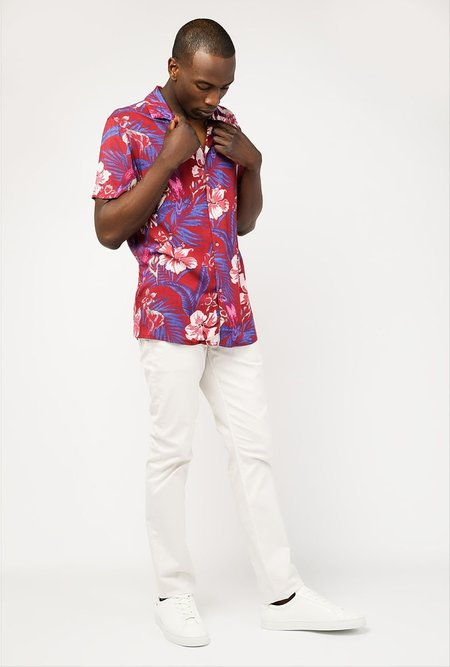 Insight Island Floral SS Shirt - BURGUNDY