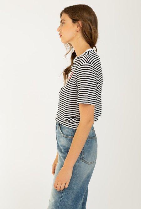 Zoe Krassen Linen Boyfriend T-shirt - BLACK/WHITE