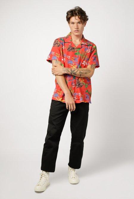 RAGA MAN Short Sleeve Camp Collar Hawaiian Button-Down shirt - Red