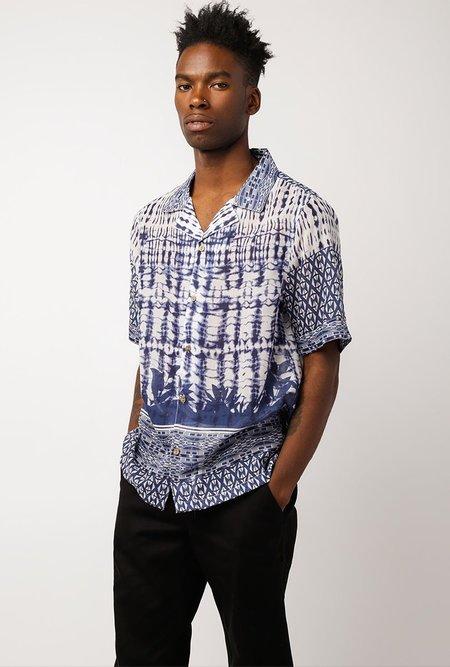 RAGA MAN SS Point Collar Button Down - BLUE/WHITE