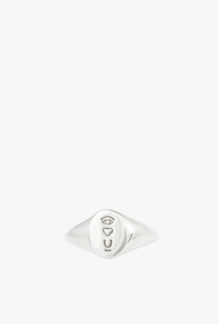 I Like It Here Club Satellite of Love Signet Ring - SILVER