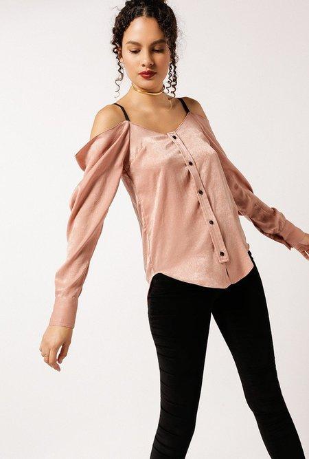 Frankie Satin Off-Shoulder Blouse - Blush