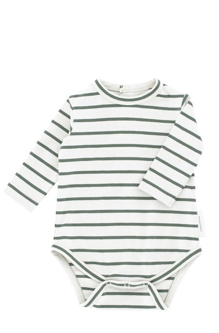 Kids Tinycottons Small Stripes Long Sleeve Body - Grey/Green