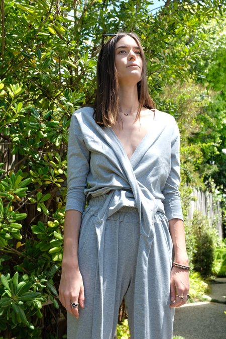 Beklina Kudu Wrap Top - Heathered Grey