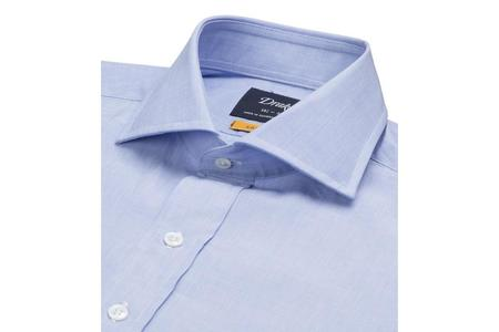 Drake's Regular Fit Shirt with Spread Collar - Ice Blue Pick & Pick