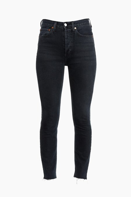RE/DONE High Rise Ankle Crop - Faded Black